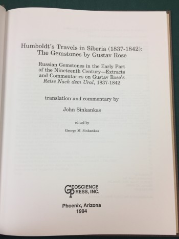Image for Humboldt's Travels in Siberia (1837-1842): The Gemstones by Gustav Rose
