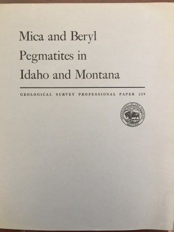 Image for Mica and Beryl Pegmatites in Idaho and Montana