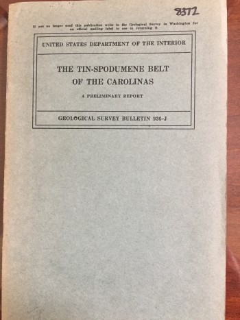 Image for The Tin Spodumene Belt of the Carolinas: A Preliminary Report