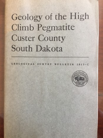 Image for Geology of the High Climb Pegmatite, Custer County, South Dakota