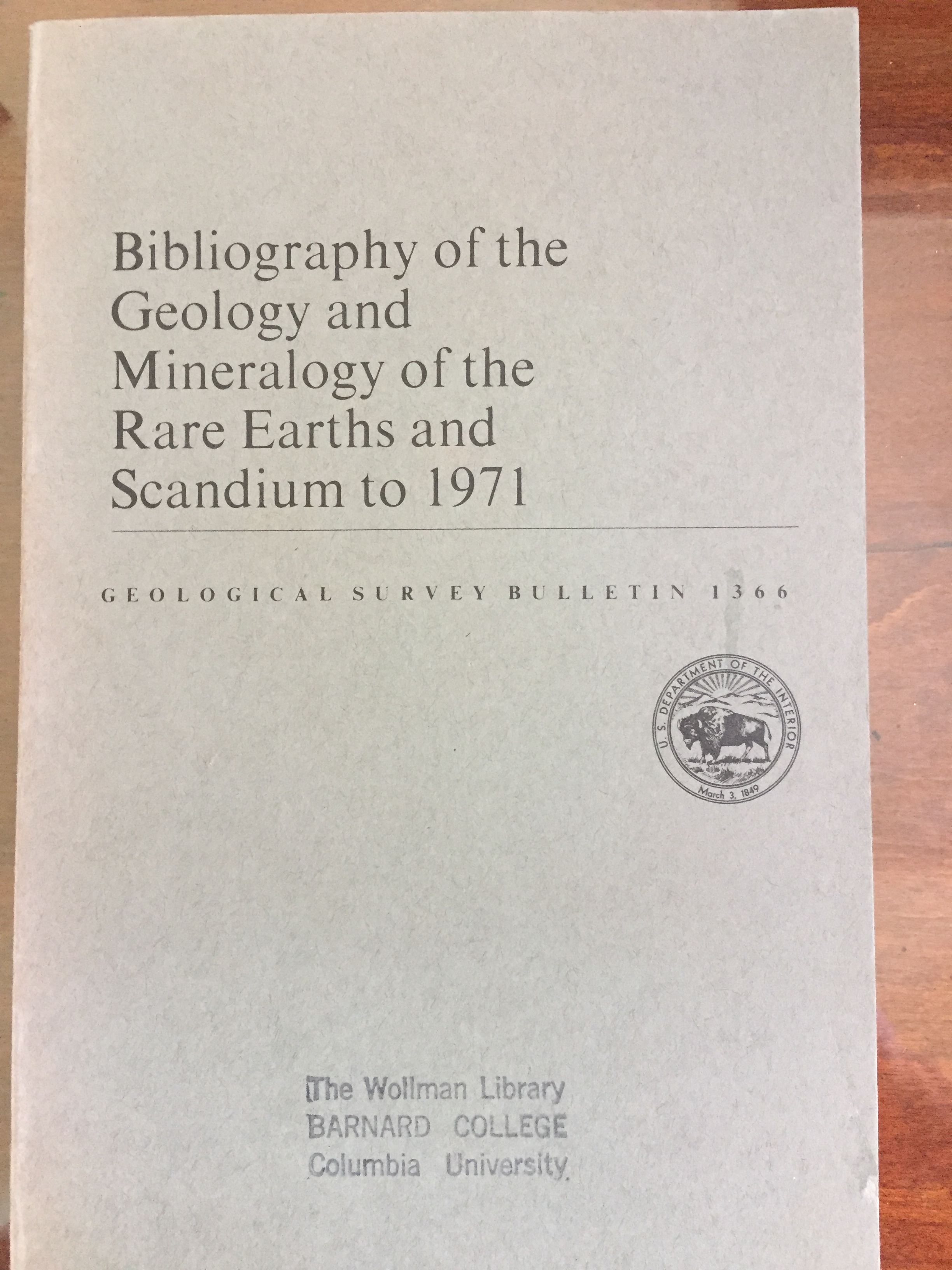Image for Bibliography of the Geology and Mineralogy of the Rare Earths and Scandium to 1971