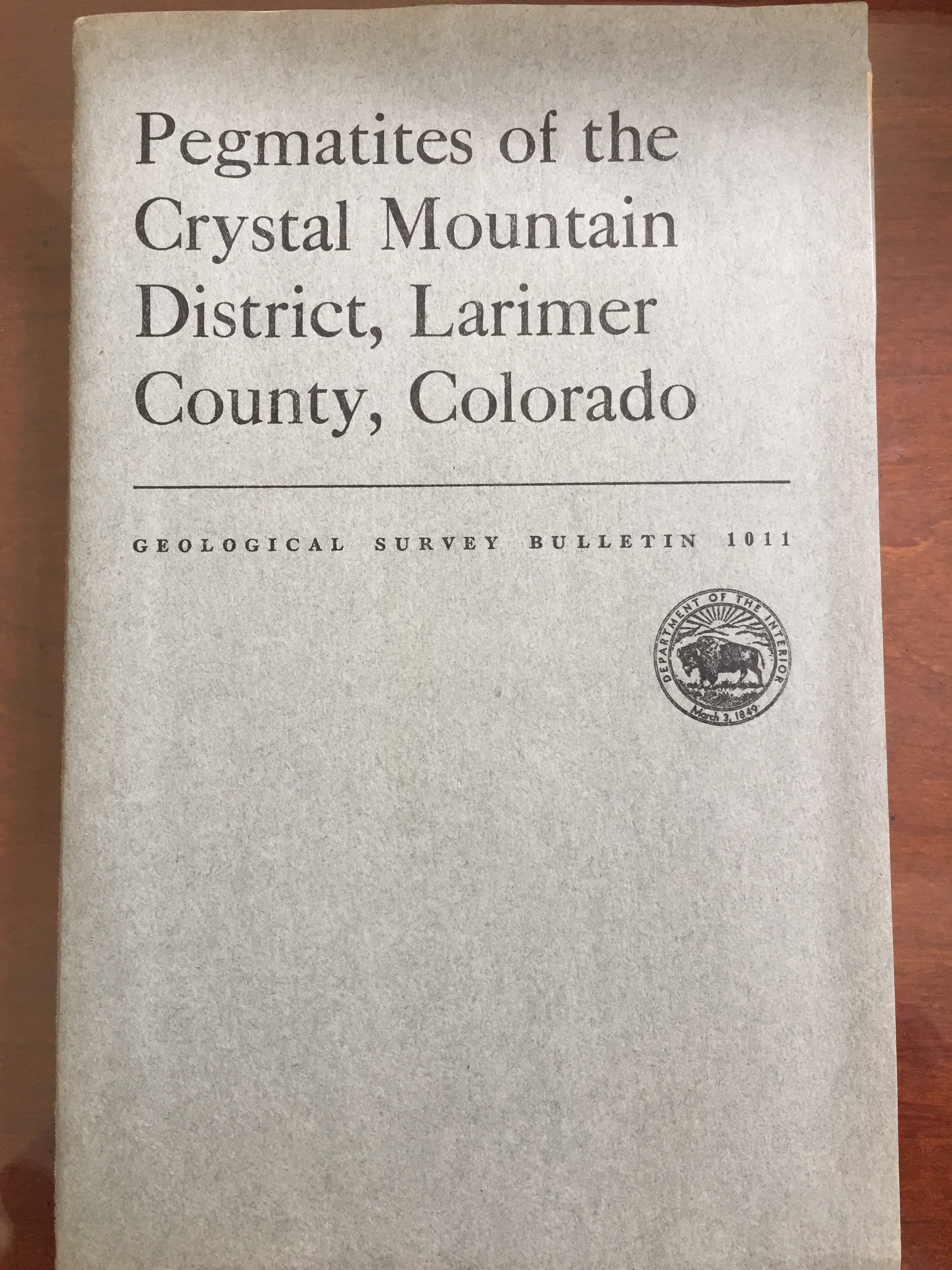 Image for Pegmatites of the Crystal Mountain District, Larimer County, Colorado