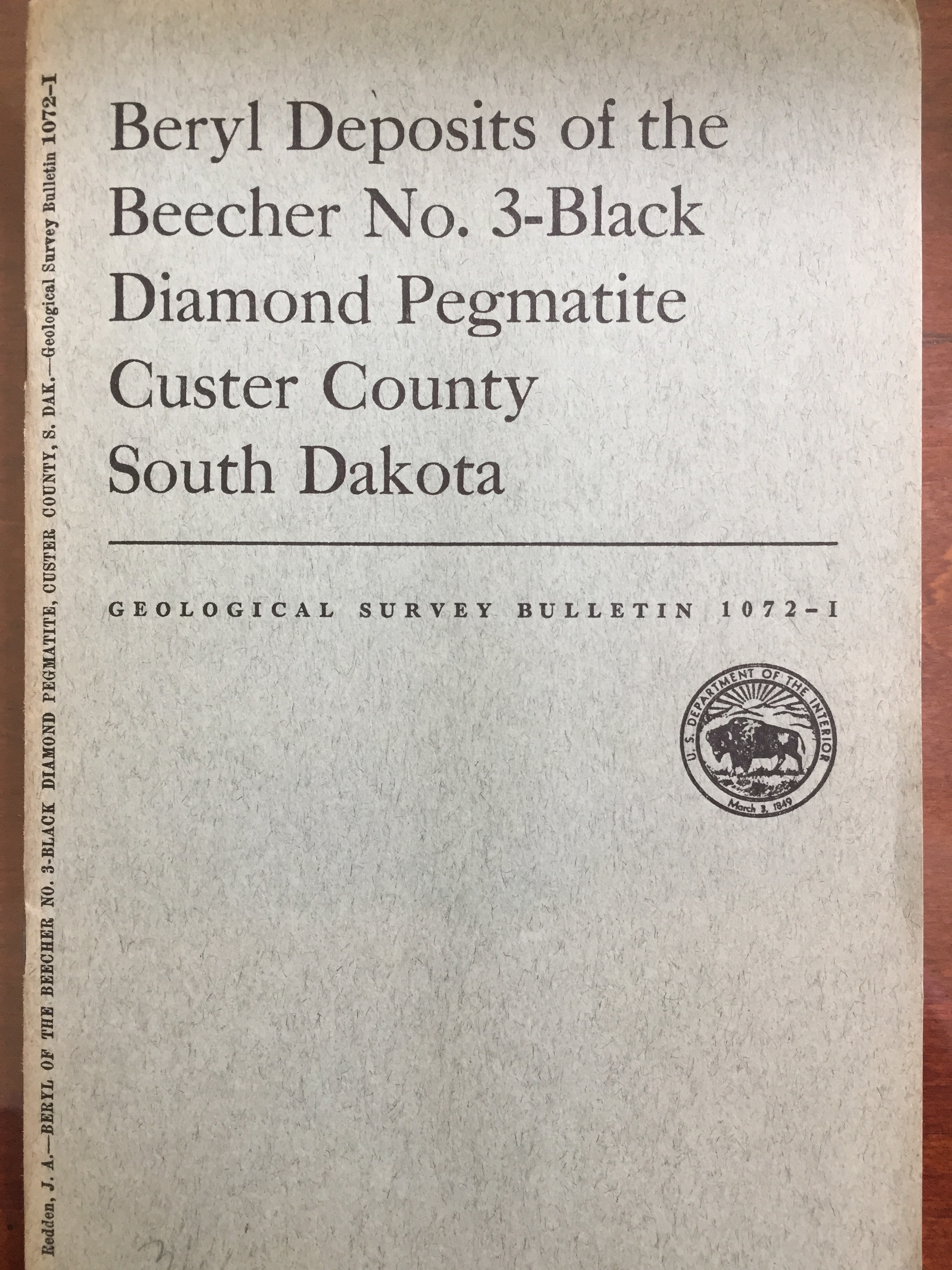Image for Beryl Deposits of the Beecher No. 3-Black Diamond Pegmatite, Custer County, South Dakota