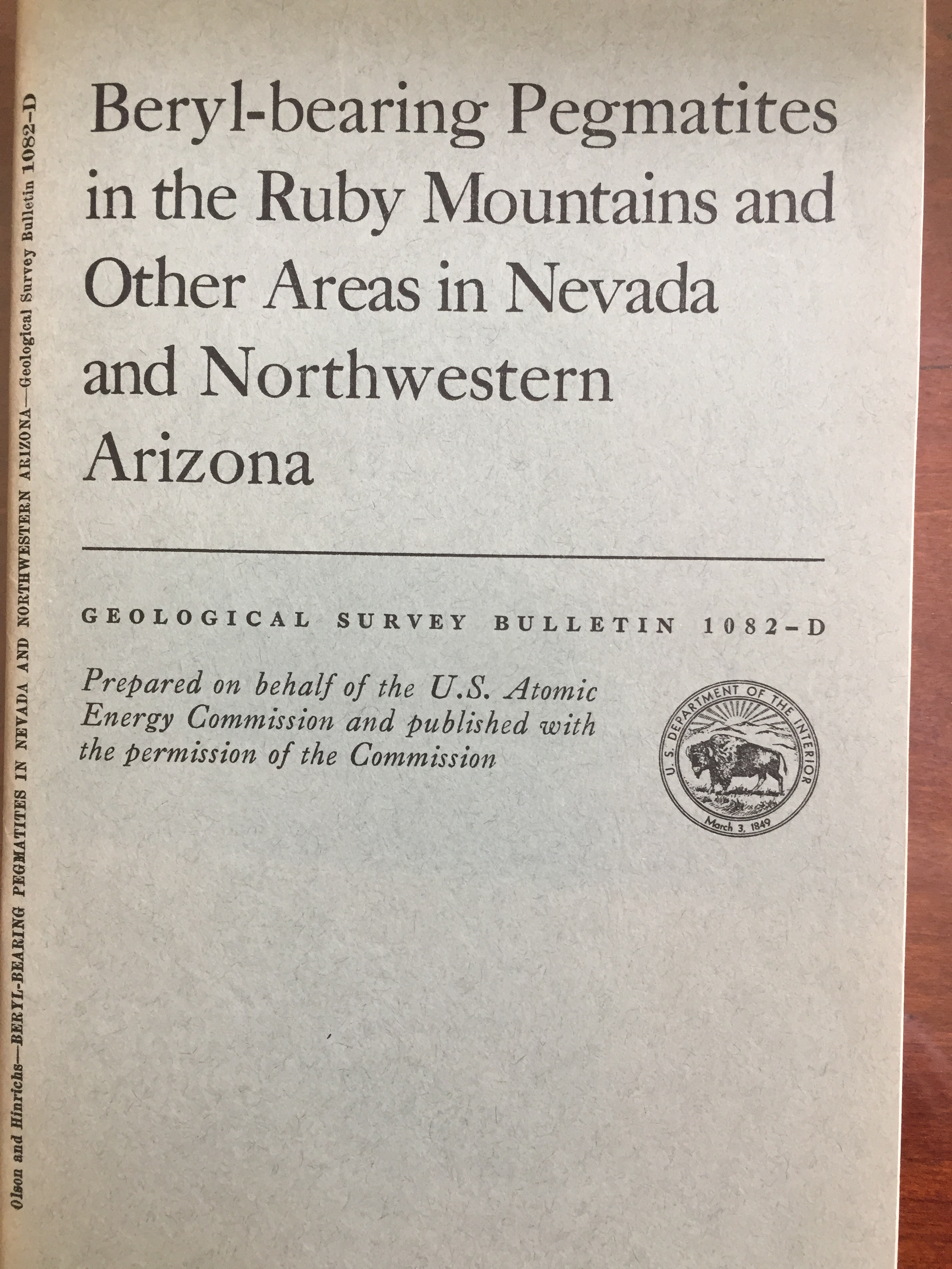 Image for Beryl-bearing Pegmatites in the Ruby Mountains and Other Areas in Nevada and Northwestern Arizona