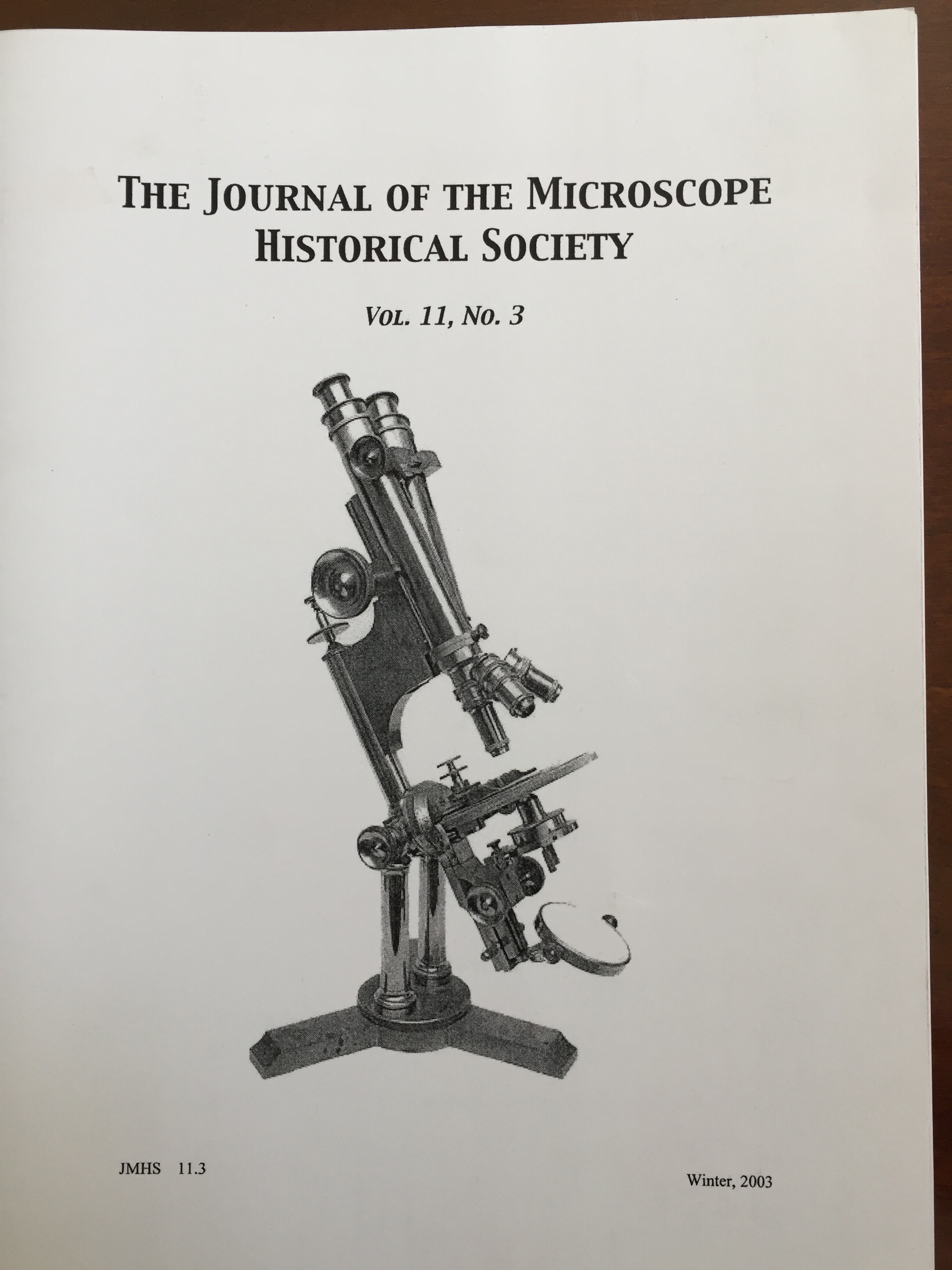 Image for Journal of the Microscope Historical Society