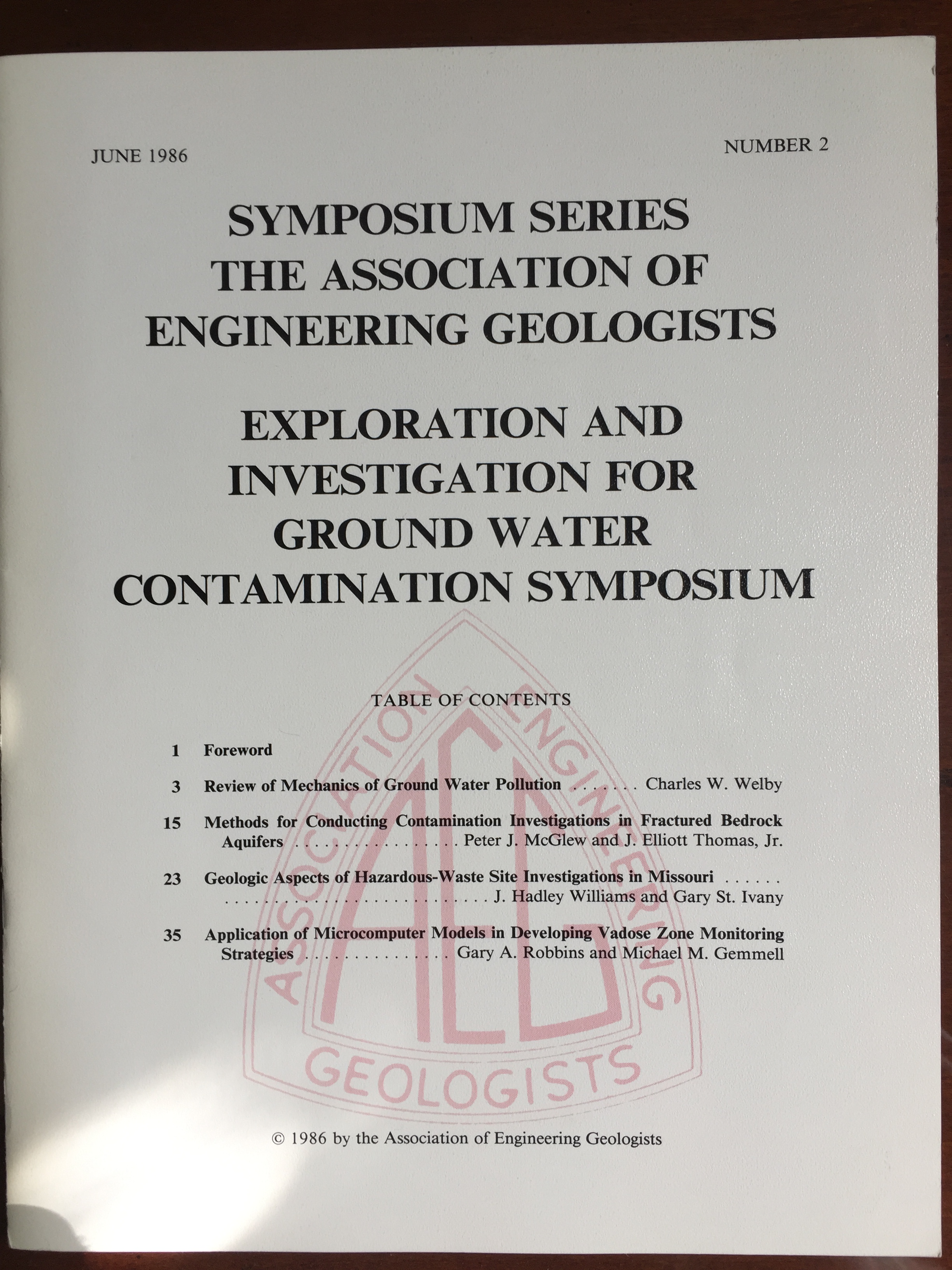 Image for Exploration and Investigation for Ground Water Contamination Symposium