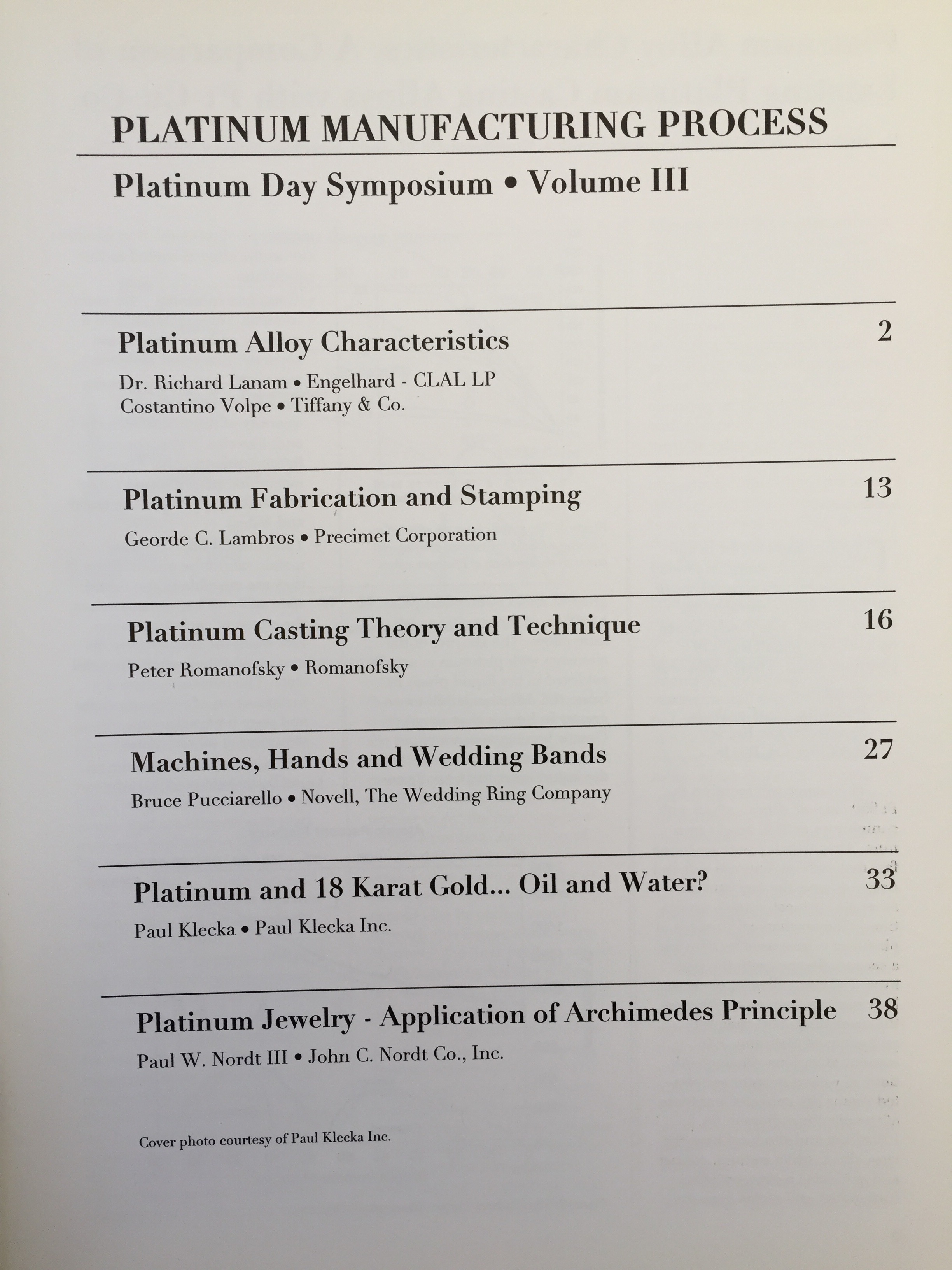 Image for Platinum Manufacturing Process Volume III