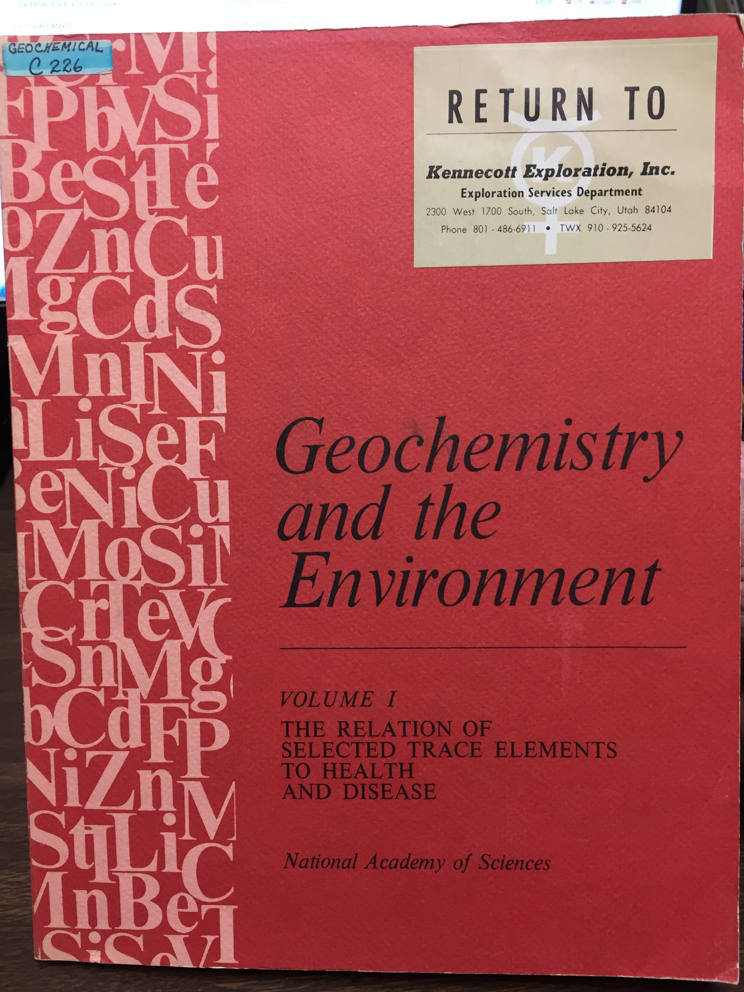 Image for Geochemistry and the Environment